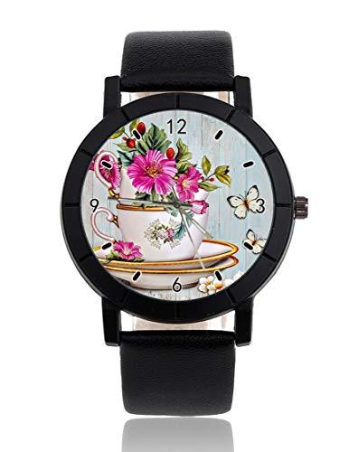Personalisierbare Armbanduhr mit Blumen- und Fliesenmotiv in Schwarz mit Lederband für Herren und Damen, Unisex-Uhren
