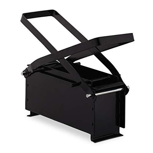 Relaxdays Papierbrikettpresse, Stahl, Papierpresse für Briketts, manuell, Altpapier pressen, HBT: 12x26x9 cm, schwarz