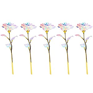 JHGH 5PC Colorful Luminous Rose Artificial LED Light Flower,Spring Summer Outdoor Ornaments Festival Celebration Front Door Wall Window Party Decoration