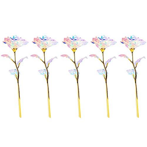 5 flores artificiales coloridas y luminosas con luz LED para niñas y novias.