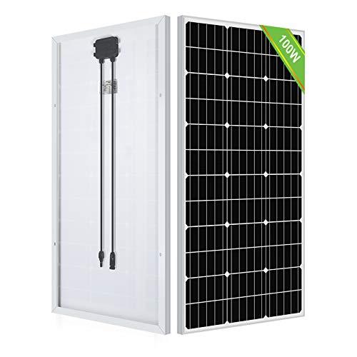 ECO-WORTHY 100 Watt 12 Volt monokristallines Solarmodul mit Aluminiumrahmen für Wohnmobile, Boote, Schuppen, Wohnwagen, Haushalte, netzunabhängige Stromversorgung