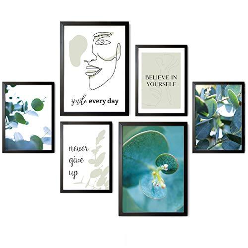 Tobja® Hochwertiges Poster Set Eukalyptus - Premium Bilder mit Sprüchen | 4x DIN A4 2x DIN A3 Kunstdruck Deko Wohnzimmer | Moderne Wandbilder Collage ohne Rahmen (Eukalyptus Love)