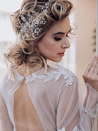 Handcess Braut Hochzeit Stirnbänder Kristall Silber Blume Kopfschmuck Strass Braut Haar Accessoires für Frauen und Mädchen (Silber)