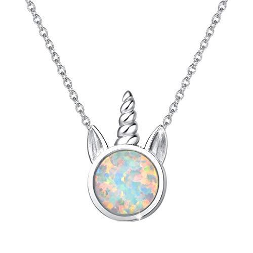 Einhorn Anhänger Kette 925 Sterling Silber mit Synthetischer Weiß Opal Unicorn Schmuck für Damen Kinder, mit Geschenk Box - Kettenlänge: 40+5 cm