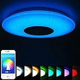 ELINKUME Lámpara de Techo Regulable Cambio de Color LED Lámpara con Altavoz Bluetooth y Mando a Distancia 36W Estrellado (APP + Mando a Distancia)