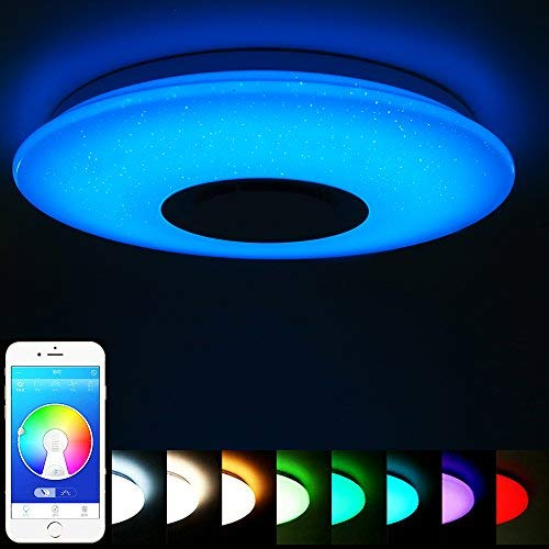ELINKUME Lámpara de Techo Regulable Cambio de Color LED Lámpara con Altavoz Bluetooth y Mando a Distancia 36W Estrellado (APP + Mando a Distancia)