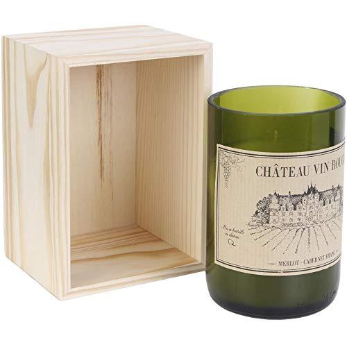 Home Deco Factory BO5392 - Vela perfumada en botella de vino (cristal, 13,6 x 8,1 x 9,1 cm), color rojo o blanco