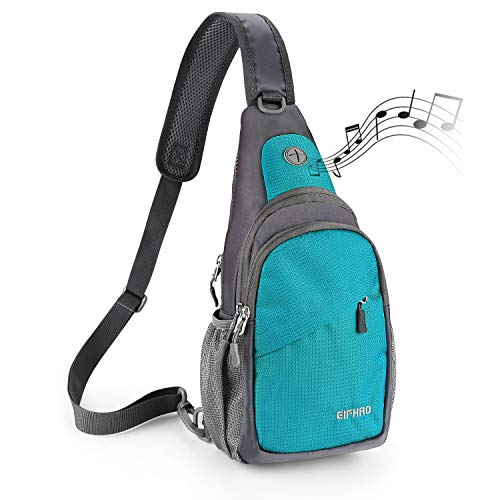 Elfhao Small Sling Bag Chest Shoulder Backpacks Waterproof Gym Outdoor Crossbody Daypacks For Women Men Kids, Lake Blue, One_Size