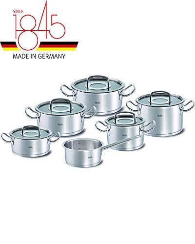 Fissler original-profi collection / Edelstahl-Topfset, 6-teilig, Kochtopf-Set, Töpfe mit Glas-Deckel, Induktion (3 Bratentöpfe, 2 Kochtöpfe, 1 Stielkasserolle-deckellos)