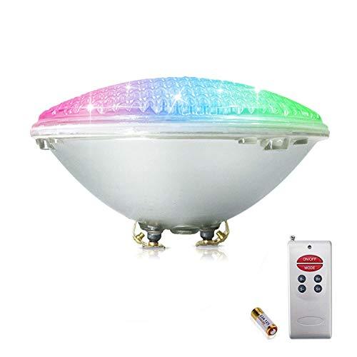 Wlnnes RGB LED 60W Piscina Iluminación PAR56 Bombilla 12V AC / DC Impermeable IP68, 11 Tipos de Modo RGB Control Remoto de Luz Coloful para Piscina Jardín Fuente