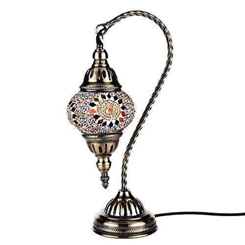 Orientalische Marokkanische Lampe Mosaik Glaslampe Vintage für Schlafzimmer Nachttischlampe Elegant Swan Neck/Bronze Basis (Multicolor)