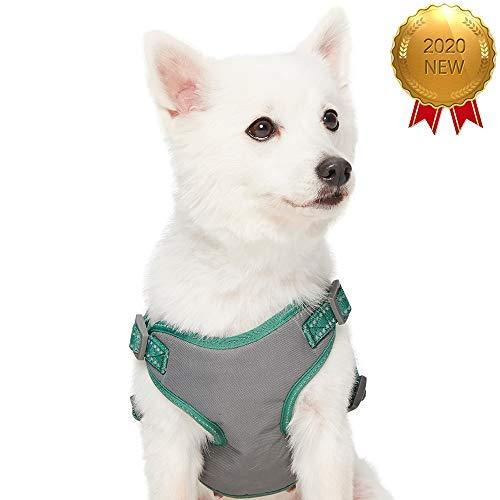 UMI. Essential Pastellfarbenes, reflektierendes Hundegeschirr, Brustumfang 45-53,5cm, Piniengrün, Small, verstellbares Geschirr für Hunde