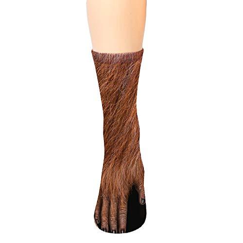 Adult Animal Paw Crew Socks - Sublimated Print - Orangutan