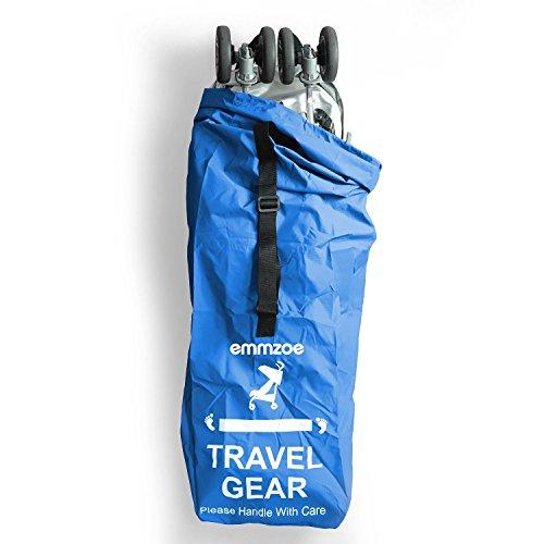 Emmzoe Premium Umbrella Stroller Airport Gate Check Travel Storage Bag Features Durable Nylon, Foldable Pouch, Hand/Shoulder Strap (Blue)