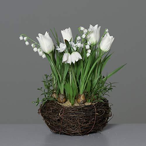 mucplants Wunderschönes künstliches Frühjahrsblumensortiment im Rattan Nest 26cm Creme mit künstliche Tulpen Maiglöckchen Schneeglöckchen Tischdekoration Tischgesteck