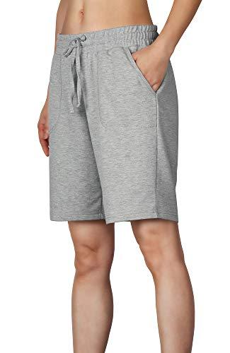 icyzone Damen Sweatshorts Bermuda Shorts Kurze Sporthose Sweatpants Einfarbig Loose Laufshorts (S, Grau)