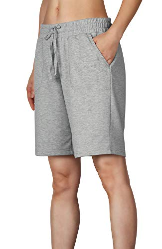 icyzone Damen Sweatshorts Bermuda Shorts Kurze Sporthose Sweatpants Einfarbig Loose Laufshorts (L, Grau)