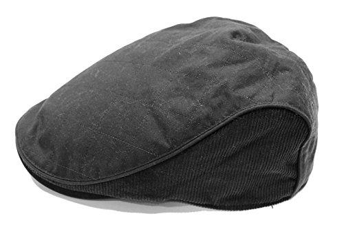 Heritage Traditions Black Wax Cord Flat Cap Hat (L/XL)