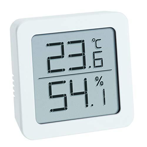 TFA Dostmann Hygrometer Digitales Thermo-Hygrometerm, zum Aufstellen oder Hängen, Raumklimakontrolle, weiß, L70 x B35 x H110 mm