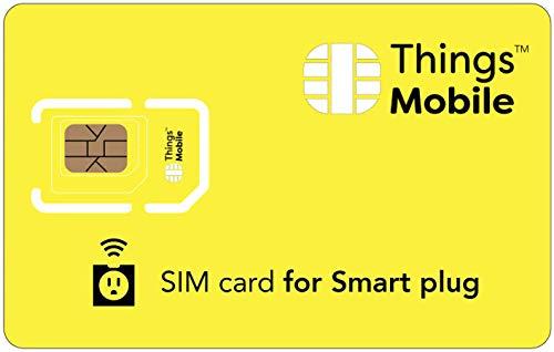 Tarjeta SIM para ENCHUFE INTELIGENTE - Things Mobile - con cobertura global y red multioperador GSM/2G/3G/4G LTE, sin costes fijos, sin vencimiento y con tarifas competitivas. 10 € de crédito incluido