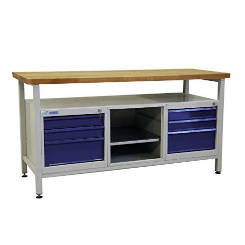 ADB Werkbank Werktisch Werkstatt Arbeitstisch Werkzeugtisch mit 6 Schubladen Werkstatteinrichtung...