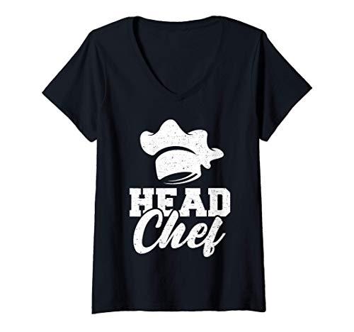 Mujer Cocinando: Head Chef - Cocinando Camiseta Cuello V