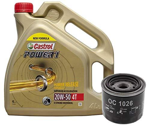 Castrol Kit Duo Power 1 Aceite de Motores 20W-50 4T 4L + Filtro Mahle OC1026