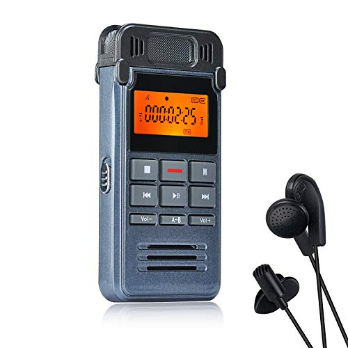 Digital Voice Recorder, wiederaufladbares COVVY 8 GB-Diktiergerät, Audiorecorder, Telefonaufnahme, LIN-IN AUX-Audioaufnahme, MP3-Player, A-B-Wiederholung für Interviews, Konferenzen, Vorträge