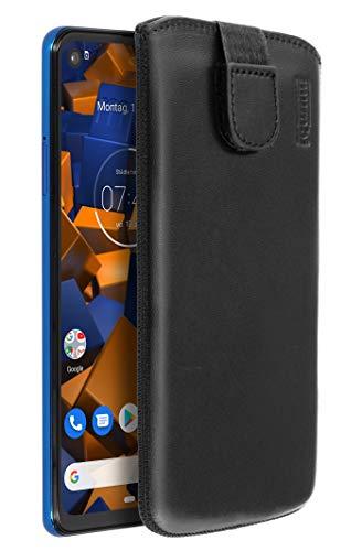 mumbi Echt Ledertasche kompatibel mit Motorola One Vision Hülle Leder Tasche Hülle Wallet, schwarz