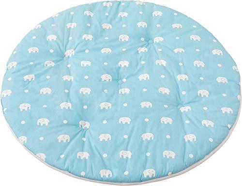 エムールフローリングベビークッションベビーマットお昼寝布団お昼寝マット洗える綿100%直径100cmゾウ柄ブルー