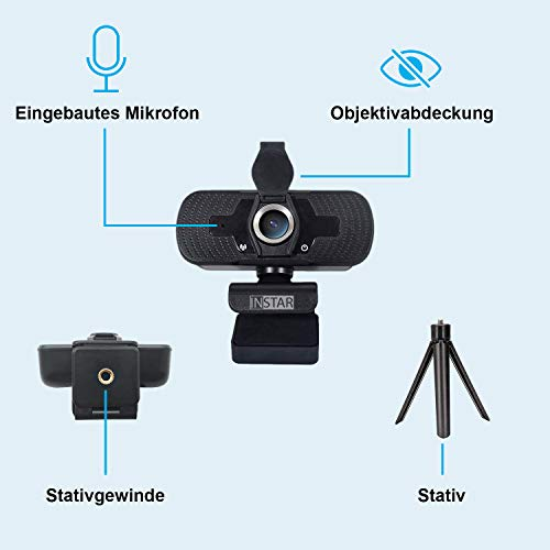 Hochwertige USB Webcam IN-W2 von INSTAR mit Objektivabdeckung, Full-HD Web cam, Webcam mit Mikrofon, eingebautes Mikro, PC-Kamera, Plug&Play, Windows/MacOS/Linux, ideal für Zoom, Skype, FaceTime
