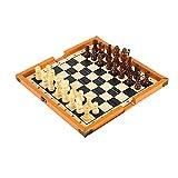 ROEWP Ajedrez Tablero ajedrez Pieza de Madera Maciza, ajedrez Internacional, Juguetes educativos de competición estudiantil, Regalos portátiles Plegables para niños Magnetico Plegable