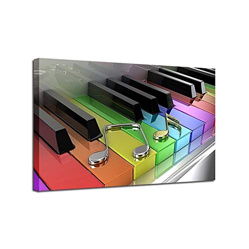 Pinturas al óleo marco Sala HD impresiones del cartel 1 Pieza/piezas de piano del arco iris Keys Fotos nota musical de la pintura a casa decoración de la pared arte de la lona