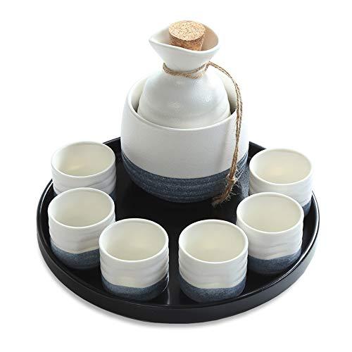 Ensemble de 9 verres à saké en céramique avec plateau en céramique Tasses artisanales traditionnelles pour saké / thé froid / chaud / chaud Meilleur cadeau pour la famille et les amis Ensemble de sa