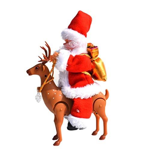 Ahagut Santa Claus Cantando Santa Claus con Ciervos Figura de decoración navideña Interior y Exterior