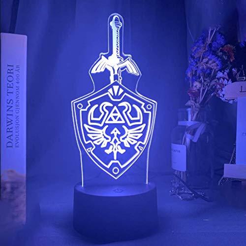 3D Optische Illusions Lampen LED Nacht Lichter 16 FarbenUSB betrieben Dimmbare Nachtlicht für Kindergeburtstag Weihnachtsgeschenk,Mit Fernbedienung-The Legend of Zelda
