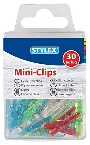 Stylex 24435 - Mini-Wäscheklammern, Clips aus Kunststoff, ca. 25 x 5 x 6 mm groß, 30 Stück farbig sortiert mit Metallfeder, zum Basteln und Dekorieren