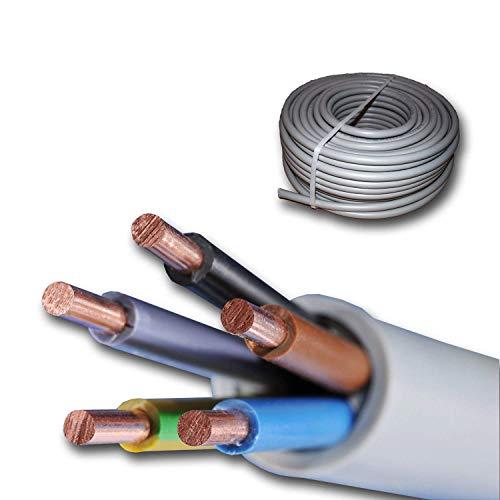 Installationskabel NYM-J 5x6 mm² - Kunststoff Installationsleitung - 25m / 25 m / 25 meter -PVC - grau