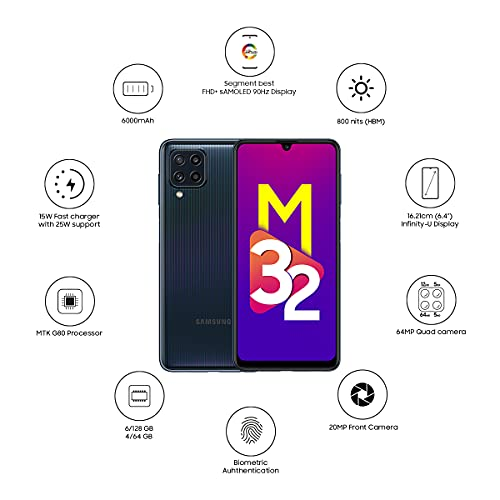 Samsung Galaxy M32 (Black, 4GB RAM, 64GB Storage) 6 Months Free Screen Replacement for Prime