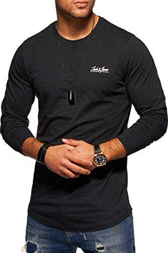 JACK & JONES Herren Langarmshirt Oversize Longshirt O-Neck (Medium, Tap Shoe)