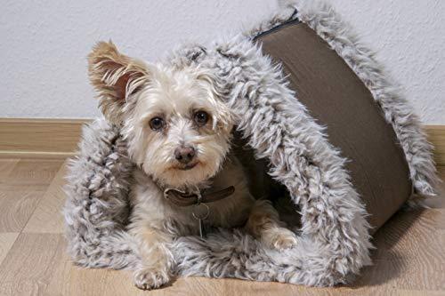 dobar 60392 opvouwbaar hondenbed met bont, hondendeken en hondenhol, 85 x 50 cm, bruin