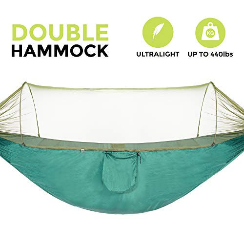 OOKU - Double Hammock with Mosquito Net for 2 Person 440 lbs | Ultralight Portable with Bug Net, 2 Hanging Straps | Swing Tree Hammock with Straps Great for Outdoor, Camping, Hiking, Backyard, Trees