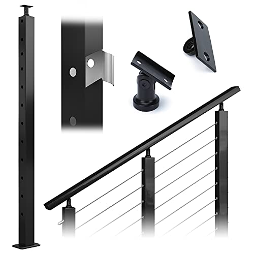 """Muzata Cable Railing Post Black Stair 42""""x2""""x2"""" Stainless Steel Square Pre-Drilled 30 Degree Angle Holes Weldless PS01 BA4L, PT1 PT3 PT6"""