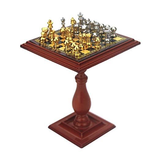 #N/A/a Juego de de Ajedrez en Miniatura a Escala 1:12, Accesorio de Juego de Simulación de Casa de Muñecas DIY