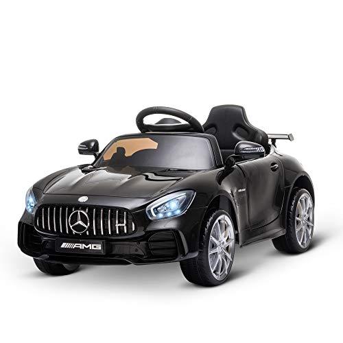 HOMCOM Coche Eléctrico para Niños Mercedes GTR con Licencia +3 Años Batería 12V con Mando a Distancia Música Faros Puerta de Doble Apertura Carga 25kg 105x58x45 cm Negro