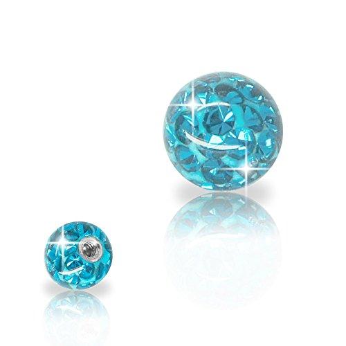 SoulCats® Piercing Kugel Schraub Ersatzkugel Kristall Gel Epoxy Ferido viele Größen, Farbe:hellblau, Gewinde:1.2 mm, Kugelgröße:3 mm