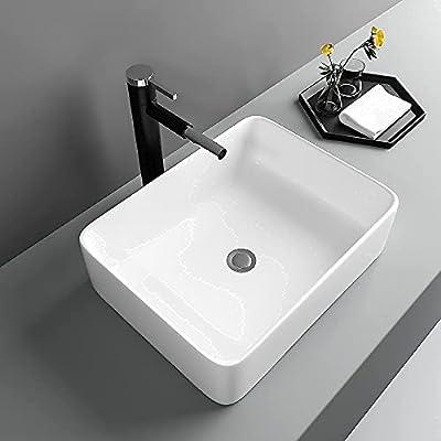 "Vessel Sink Rectangular - Lofeyo 19""x15"" Vessel Sink White Ceramic Bathroom Sink Above Counter Rectangle Vanity Sink Basin"