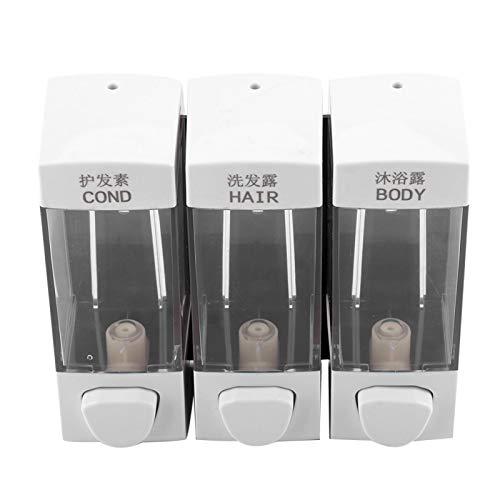 XQAQX Dispensador de loción de jabón, Dispensador de loción montado en la Pared Juego de dispensador de jabón de champú de loción líquida de 3 cámaras Accesorios de baño