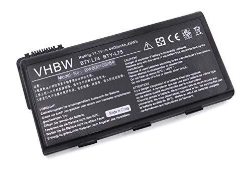 vhbw Li-Ion Battery 4400mAh (11.1V) for Notebook Laptop MSI A5000, A6000, A6005, A6200, A7200, CR500, CR600CR600001US Like BTY-L74, BTY-L75.