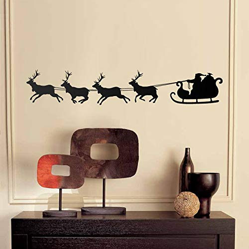 Kerstman Slee Rendier Muursticker Kinderen Decor Vinyl Sticker Kids Kamer Decal Kerst Decoratie